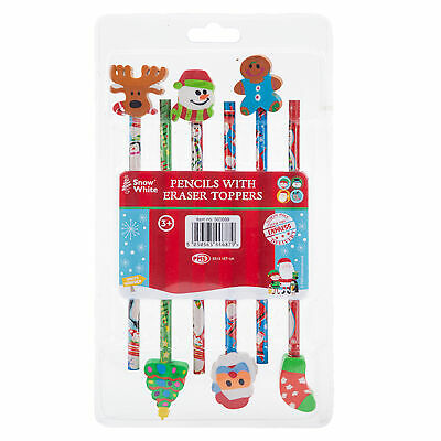Paquete De 6 Lápices Con Borrador Top - Novedad Navidad Diseño/Regalos Calcetín