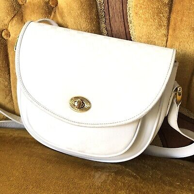 Vintage Gucci GG Supreme Canvas Flap Crossbody Saddle Bag Italy White Gold 80's