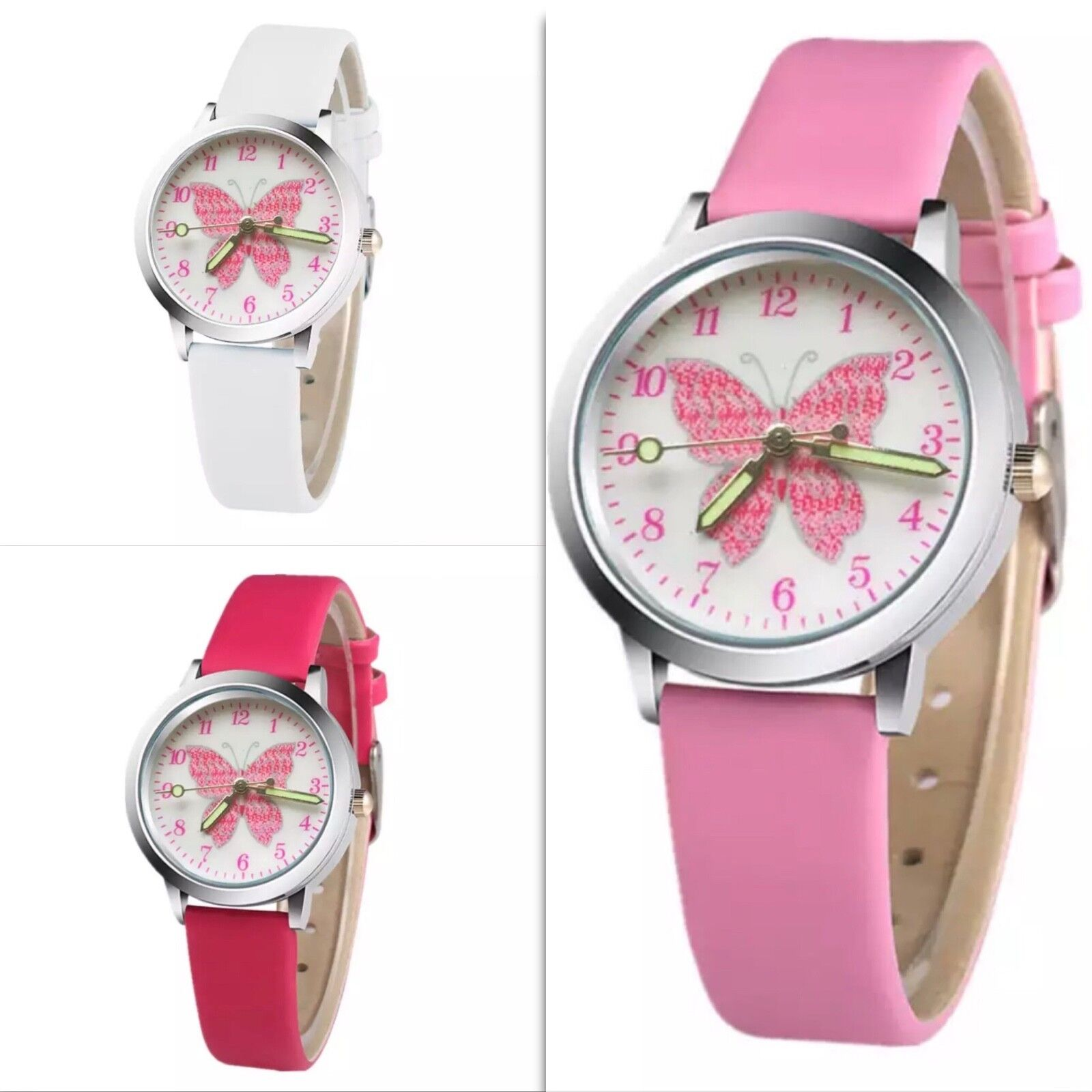 Armbanduhr Kinderuhr Uhr Kinder Mädchen silber Schmetterling pink rosa weiß