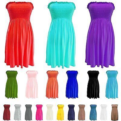 Womens Ladies Strapless Sheering Boob Tube Gather Bandeau Top Summer Mini Dress Mini Tube Top