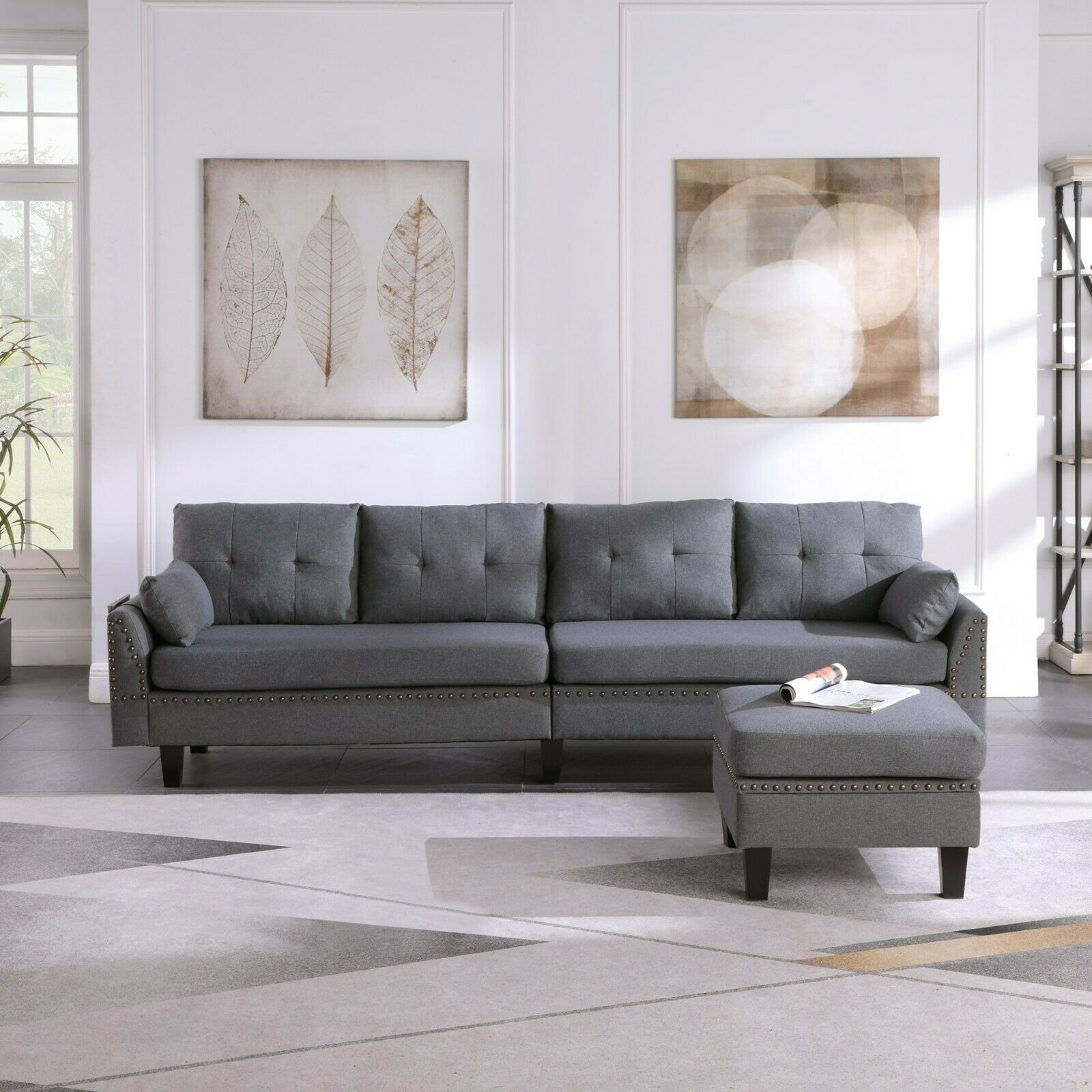 4-Seaters Sectional Sofa/Couch with Storage Ottoman Pillows Upholstered Fabric 2