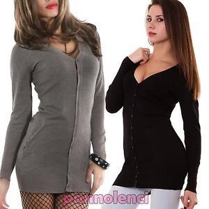 Cardigan-donna-lungo-maglioncino-pullover-bottoni-maniche-lunghe-nuovo-JM-G5865