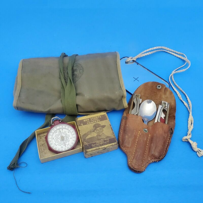 Vintage Boy Scouts of America Equipment, Mess tools, Compass, Toilet kit, c1950s