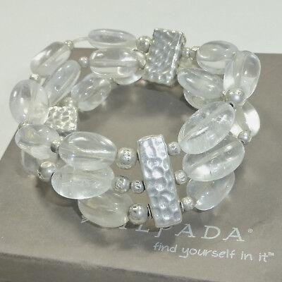 (Silpada Crystal Quartz Sterling Silver Multi Strand Stretch Bracelet B1600 .925 )