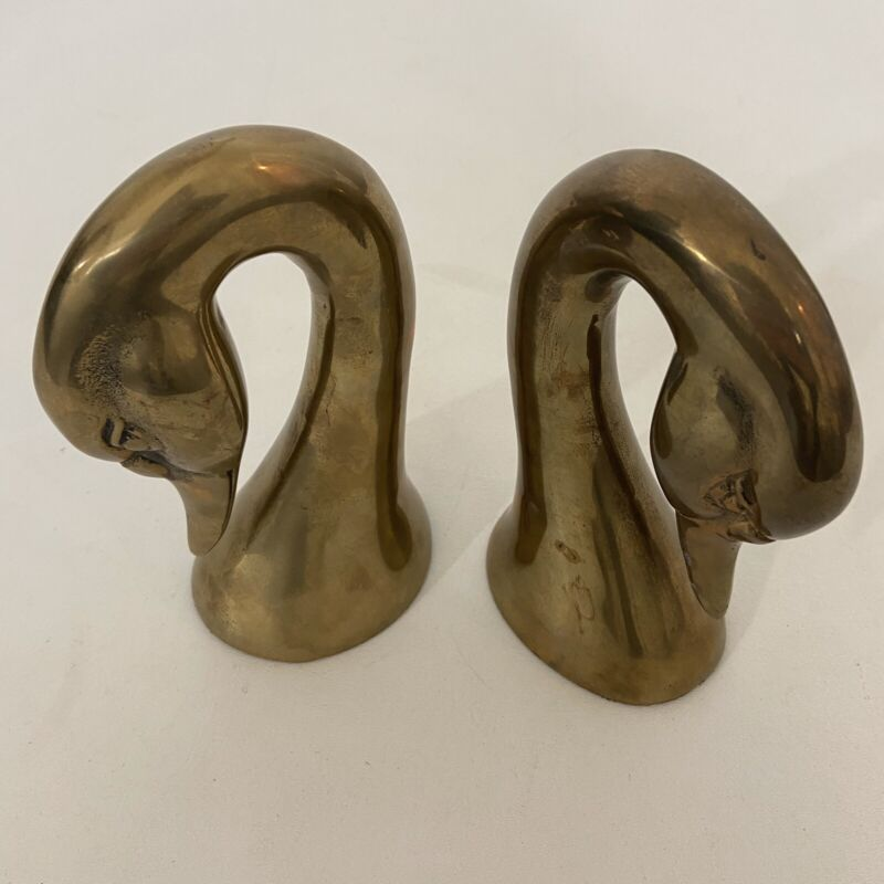"""Vintage Solid Brass Duck Geese Heads Bookends Pair Set  Made In Korea 7"""""""