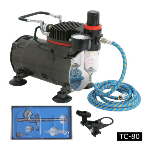 New Airbrush Kit Single Cylinder Piston Air Compressor Dual-Action Hobby Set Airbrushing Supplies