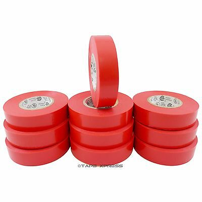 10 Rolls Red Vinyl Pvc Electrical Tape 34 X 66 Adhesive - Free Shipping