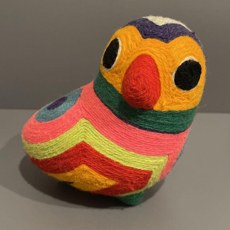 Vintage Huichol Yarn Art Owl Bird Figurine Handmade Mexico Psychedelic Retro Owl