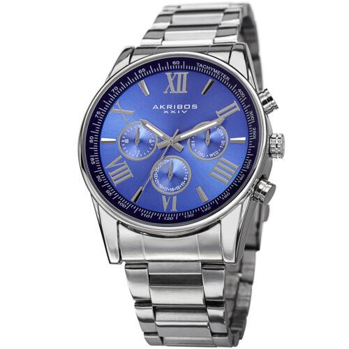 Mens Akribos XXIV AK736 Quartz Multifunction Stainless Steel Bracelet Watch
