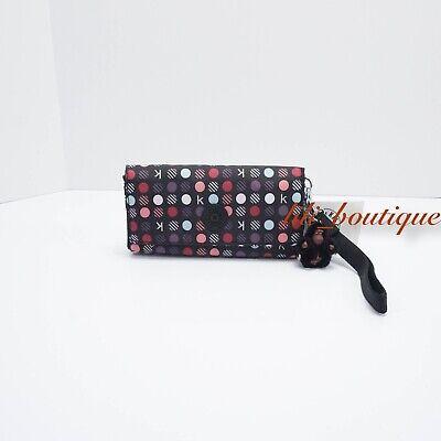 NWT Kipling AC8152 RUBI Snap Long Wallet Wristlet Polyamide Black Multi Dots $47