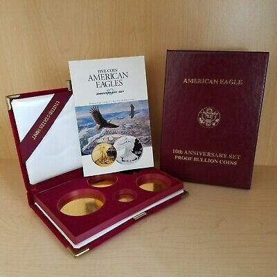 1995-W American Eagle Gold & Silver Five-Coin Set Case Box & Coa NO COINS! Coin Box Coa No Coins