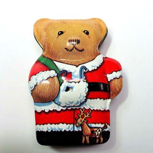 Dana Kubick Hunky Dory Christmas Santa Claus Bear Tin Collectible England 2.25in