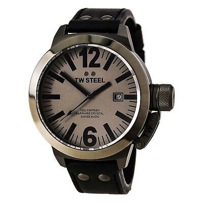 TW Steel Men's Watch CEO Canteen Quartz Grey Dial Black Leather Strap CE1052