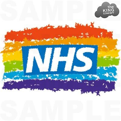 NHS Rainbow Iron On T-Shirt Transfer Stay Home Save Lives Protect the Safe Logo