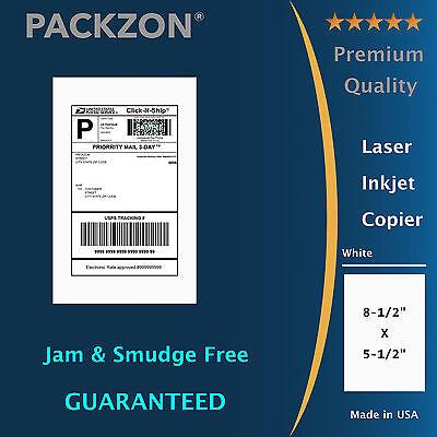 200 Shipping Labels 8.5x5.5 Square Corner Self Adhesive 2 Per Sheet PACKZON®