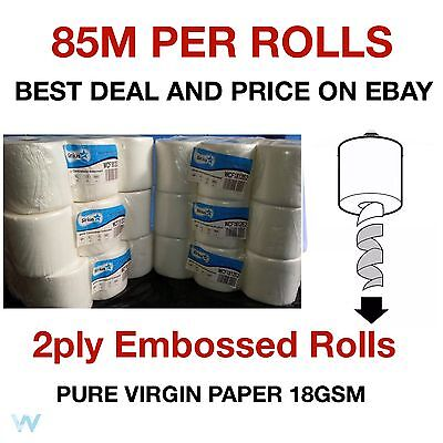 48 rolls (8 PACKS) x Grade 1 White Centrefeed Embossed 2ply Wiper Paper Towel