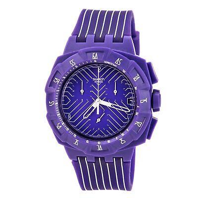 Swatch Men's Watch Purple Run Chronograph Silicone Rubber Strap SUIV401