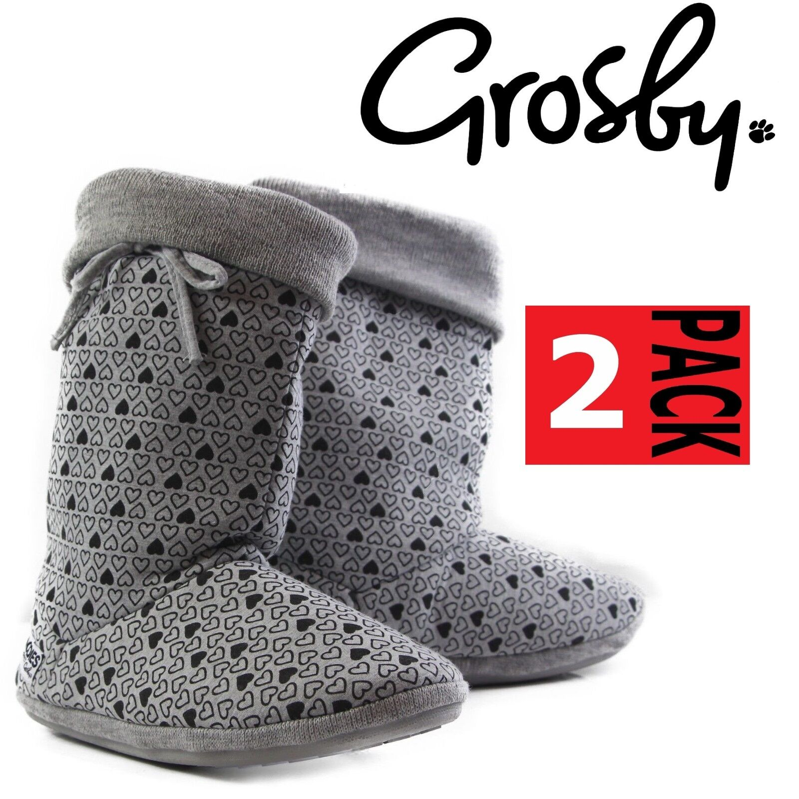 bb99943af67 Details about 2 PAIRS x Womens GROSBY HEARTS HOODIES BOOTS Grey Black  Slippers Ugg Boot Shoes