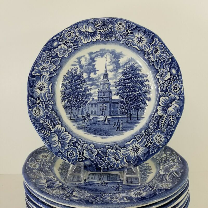 Staffordshire Liberty Blue Independence Hall Dinner Plate 9.75 England Multiples