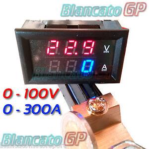 2in1-VOLTMETRO-0-100V-e-AMPEROMETRO-0-300A-con-SHUNT-auto-camper-solare-eolico