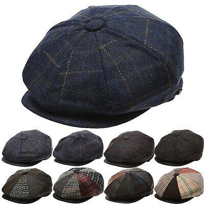Men's Wool Newsboy Hat, Plaid Applejack Tweed Herringbone Gatsby Driving Cap