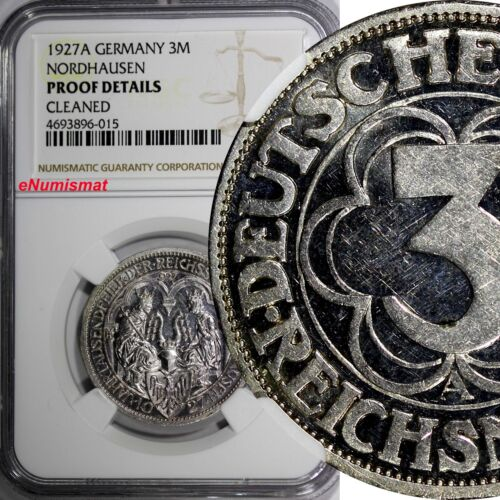 Germany Nordhausen Silver PROOF 1927 A 3 Reichsmark NGC PROOF DET.SCARCE KM52/15