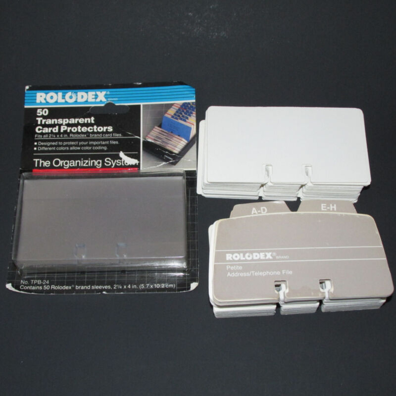 280 Rolodex Refill File Cards 50 Protectors Sleeves 2.25 X 4
