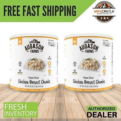 Augason Farms Freeze Dried Chicken Breast & BEEF Chunks, 2 x #10 Can REAL MEAT
