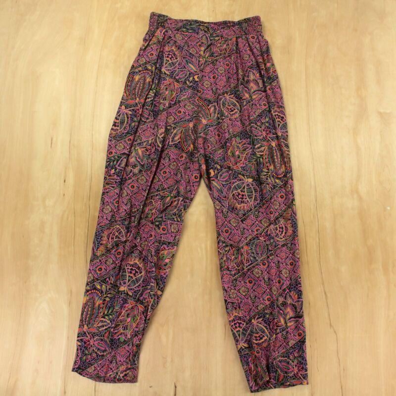 vtg 80s 90s 4-WARD boho floral harem pants LARGE 26-38 elastic baggy hammer usa