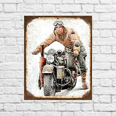 Motorbike metal sign, motorcycle sign, garage signs, garage decor, girl man cave