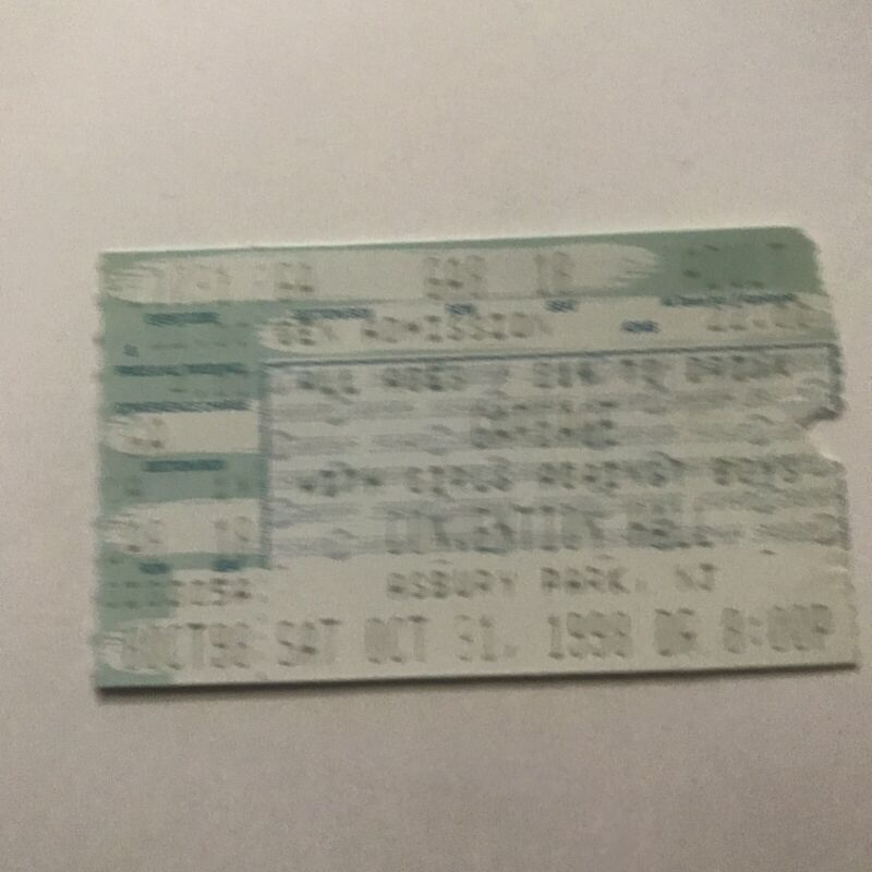 Garbage Convention Hall Asbury Park NJ Concert Ticket Stub Vintage October 1998