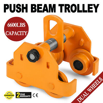3 Ton Push Beam Trolley For Heavy Loads To 6000 Lbs Fits Straightcurved I Beam