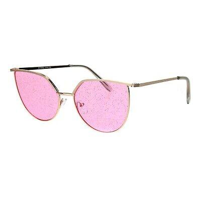 Glitter Lens Sunglasses Glasses Womens Fashion Gold Metal Frame UV (Gold Glitter Sunglasses)