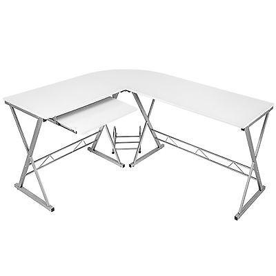 Bureau Table à ordinateur en coin meuble d'angle PC poste de travail blanc