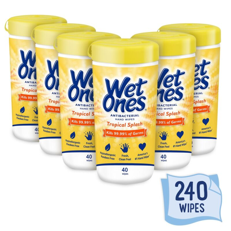 Wet Ones 6 Pull Out canister each 40 ct total 240 Tropical Splash