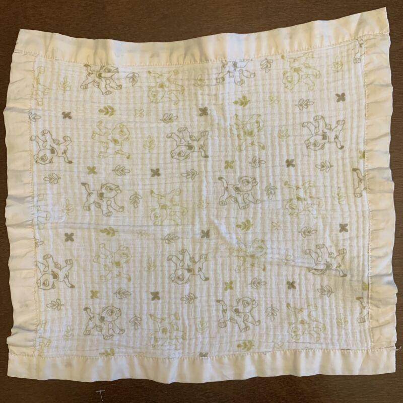 "16"" Disney Baby Lion King Lovey Simba Nala Security Blanket White Tan Cotton L10"