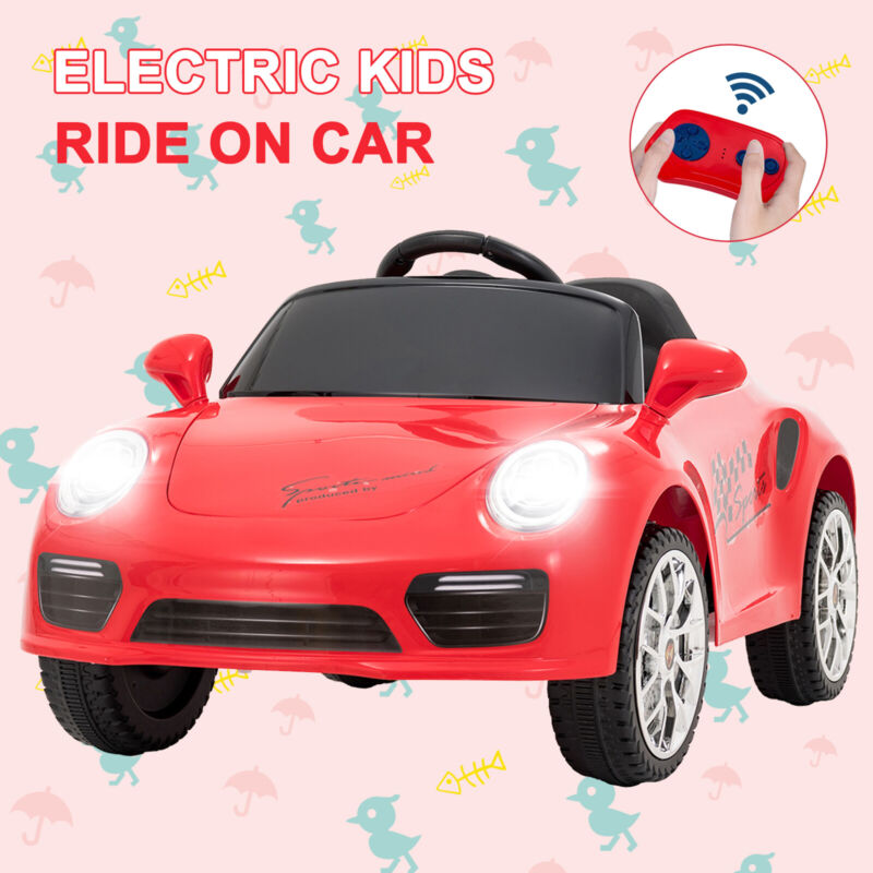6V Kids Electric Ride on Cars Suspension Car w/Remote Control Horn Music Red