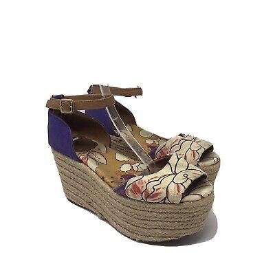 Tory Burch Size 6M Sherri Wedge Sandal Espadrilles Purple Sandals 0070