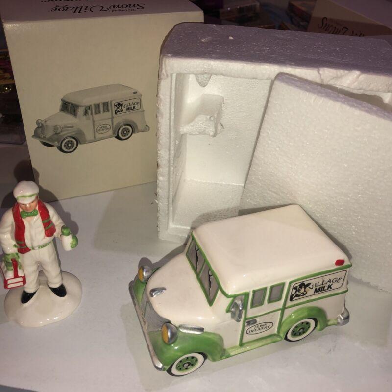 Dept 56 Snow Village Accessory 1990 HOME DELIVERY Milk Truck 2 Pc 51624 Milk Man