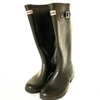 Hunter Original Matte Black Rain Boots Rubber Tall Size 7
