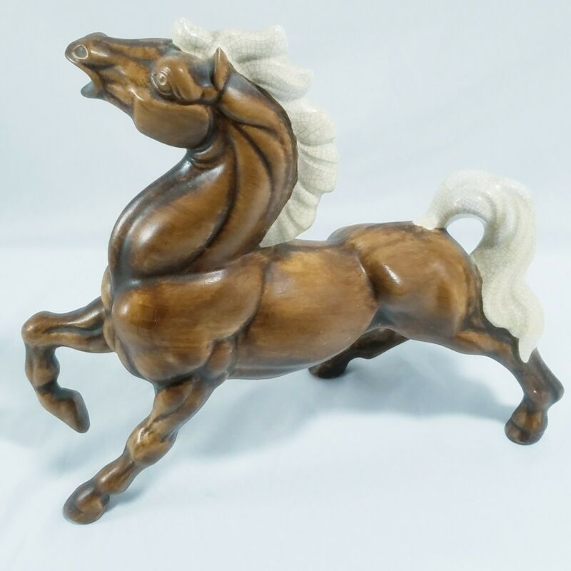 "Vintage ""TREASURE CRAFT"" Prancing Horse Figurine Ceramic Art Pottery 1970"