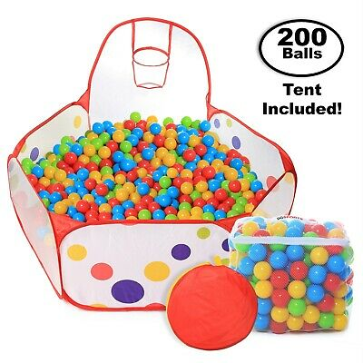 Pop Up Kids Ball Pit, Bundle Combo with 200 Colored Plastic Balls (BPA Free)
