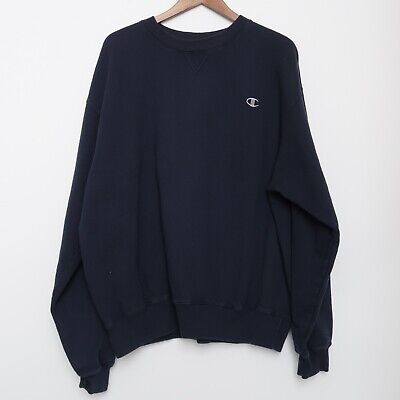 Vintage 90s Champion Navy Blue Crewneck Sweatshirt Embroidered Logo Size XL