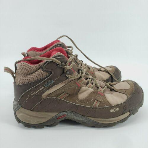 Salomon Boys Brown Leather Goretex Contagrip Hiking Shoe Size 8.5