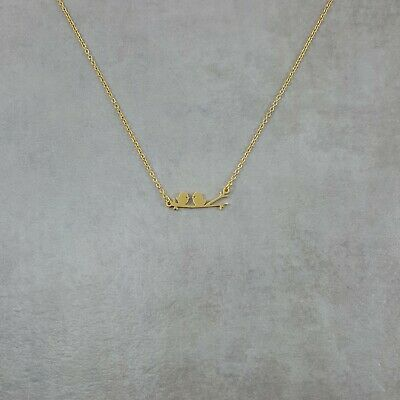 Two Lovebirds GOLD Plated Necklace Adjustable Handmade Charm Pendant Animal (Bird Pendant Gold Plated Jewelry)