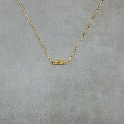 Two Lovebirds GOLD Plated Necklace Adjustable Handmade Charm Pendant Animal Bird ()