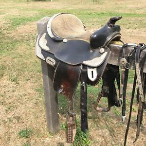 Black Saddle with Silver