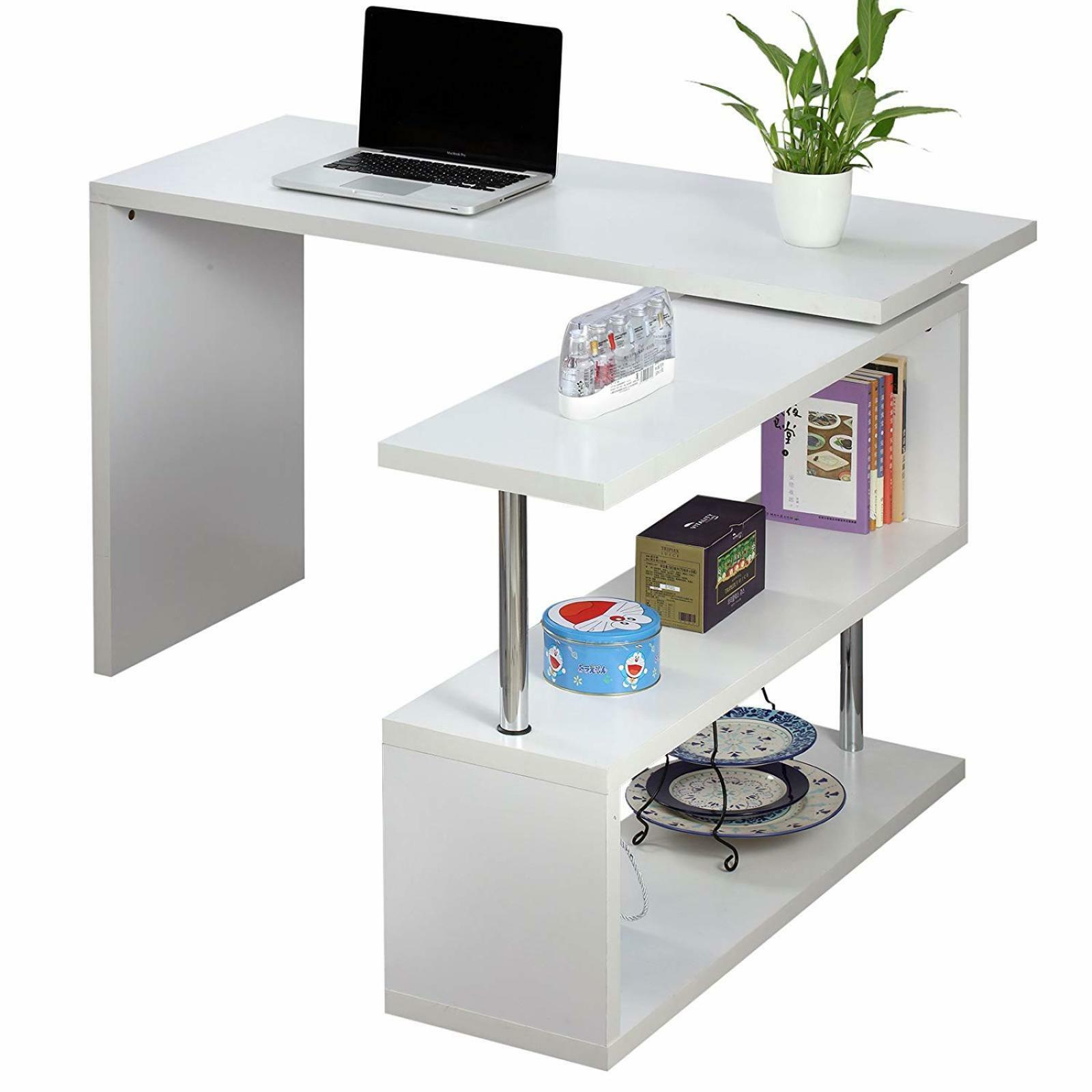 Executive Office Desk White Computer Pc Table Home Corner Study Unit Ebay