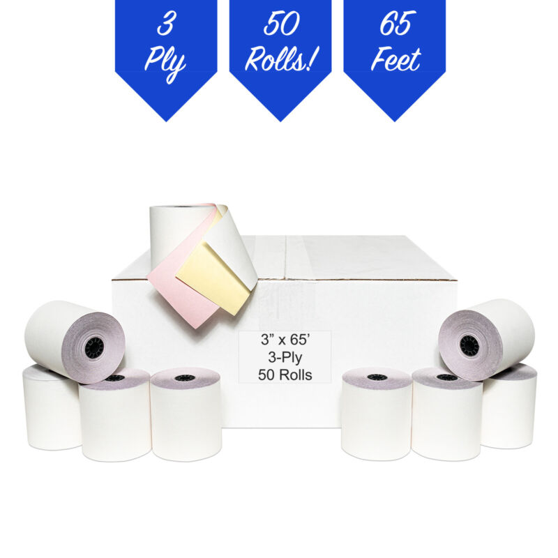 PM Company Perfection POS/Cash Register Rolls, 3 Inches X 65 Feet, W/C/P