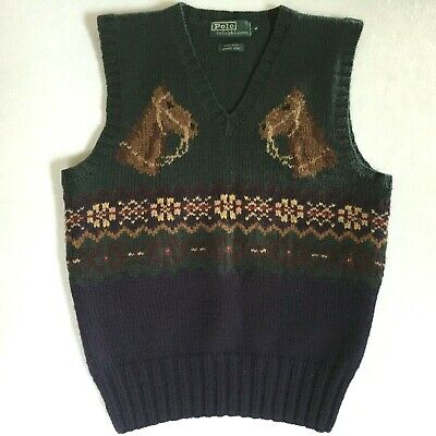 Ralph Lauren Hand Knit Wool Horse Equestrian Sweater Vest Fair Isle Vintage (Ralph Lauren Horse)